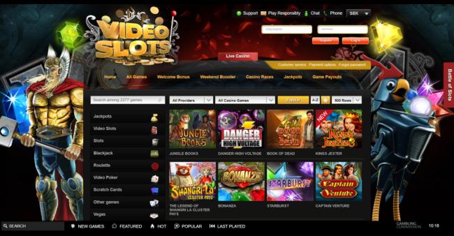 Videoslots Casino Spelautomater