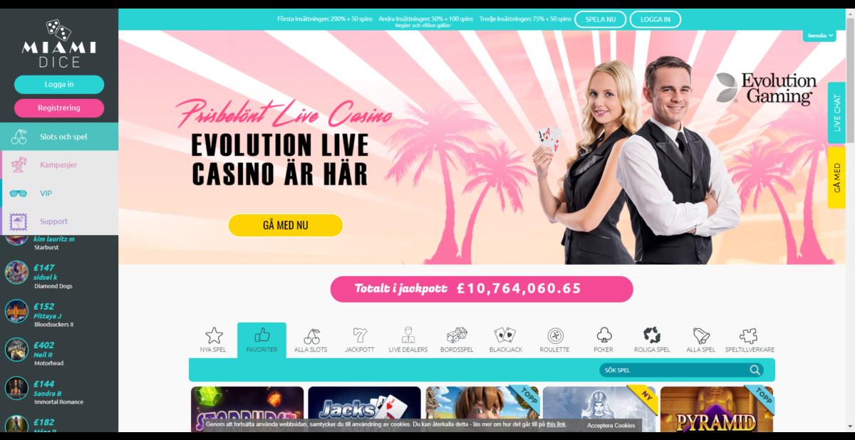 Miami Dice Casino Spelautomater