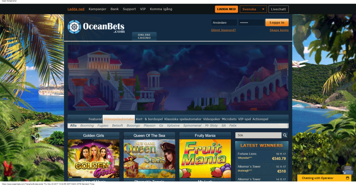 OceanBets Casino Spelautomater