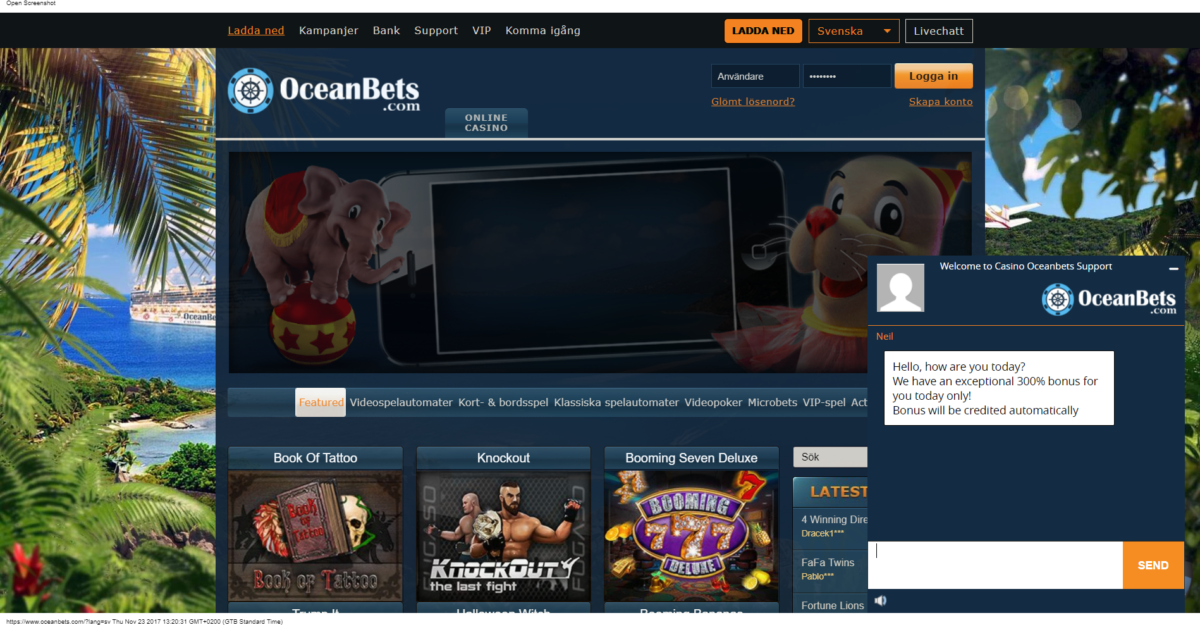 OceanBets Casino Recension